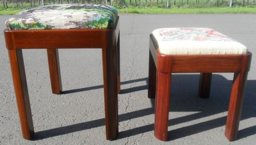 Two Mahogany Framed Upholstered Stools